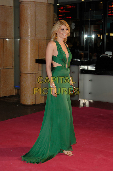 "MEREDITH OSTROM .At the UK Film Premiere of ""Factory Girl"", held at Vue West End Cinema, London, England, March 13th 20007..full length green dress plungling neckline low cut out sides legs slit split .CAP/PL.©Phil Loftus/Capital Pictures"