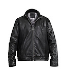 Fashionable black leather mens jacket isolated on white background