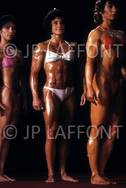 Atlantic City, NJ, April 24, 1981. Laura Combes at the Women's World Bodybuilding Championships.