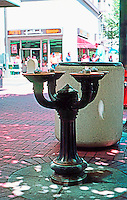 "Portland: Drinking Fountain, SW corner Washington at SW 5th, c. 1910.  This is one of several ""Benson Bubblers"" presented to city by millionaire lumberman, Simon Benson. Portland now has 40 bronze drinking fountains."