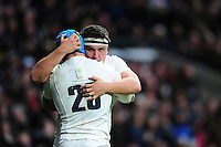 Jack Nowell of England celebrates his second half try with team-mate Jamie George. RBS Six Nations match between England and Italy on February 26, 2017 at Twickenham Stadium in London, England. Photo by: Patrick Khachfe / Onside Images