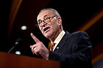 Senator CHUCK SCHUMER (D-NY) during a news conference on Capitol Hill Wednesday, where Democratic Senators called for making job creation part of the deficit reduction negotiation. Democrats suggested that the Republicans are trying to slow the economic recovery for political gain.
