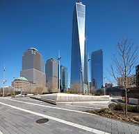 One World Trade Center or Freedom Tower, designed by David Childs and built 2006-13 and opened 2014, on the site of the World Trade Center which was destroyed in the terrorist attack of 11th September 2001, Manhattan, New York, New York, USA. The building is the tallest skyscraper in the Western Hemisphere, and the 6th tallest in the world. It forms part of the new World Trade Center complex, which includes 5 skyscrapers and the  National September 11 Memorial & Museum. Picture by Manuel Cohen