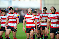 Willi Heinz and the rest of the Gloucester Rugby team look dejected after the match. Aviva Premiership match, between Gloucester Rugby and Bath Rugby on October 1, 2016 at Kingsholm Stadium in Gloucester, England. Photo by: Patrick Khachfe / Onside Images