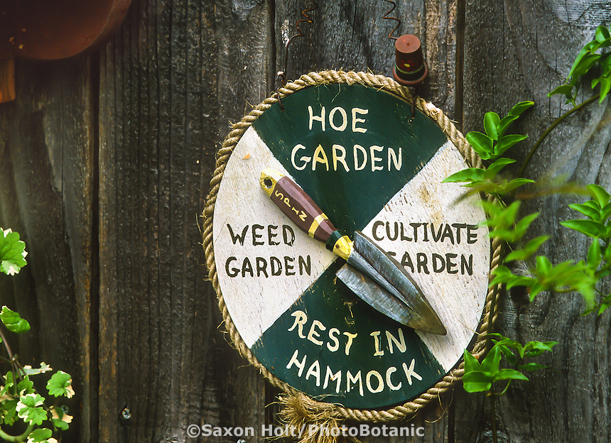 Whimsical garden sign, humorous work indicator dial