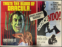 BNPS.co.uk (01202 558833)<br /> Pic: Cottees/BNPS<br /> <br /> Taste The Blood Of Dracula / Crescendo 1972-'3 Hammer Horror double-bill film poster.<br /> <br /> A horror fan has sold his chilling collection of cult movie posters - for a shocking &pound;25,000.<br /> <br /> The unnamed film buff collected over 100 posters that advertised scary movies like Dracula, Frankenstein, The Wicker Man and the Hammer Horror franchise.<br /> <br /> He has now sold them at Cottees Auctions of Wareham, Dorset, with one rare Dracula poster fetching over &pound;5,000 alone.