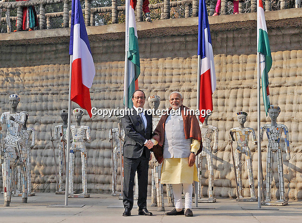 24.01.2016; Chandigarh, India: PRESIDENT HOLLANDE AND INDIAN PM MODI<br /> visit the Nek Chand Rock Garden, in Chandigarh.<br /> The French President in the guest of honour for the Republic Day celebrations on the 26th of January 2016.<br /> Mandatory Credit Photos: &copy;NEWSPIX INTERNATIONAL<br /> <br /> PHOTO CREDIT MANDATORY!!: NEWSPIX INTERNATIONAL(Failure to credit will incur a surcharge of 100% of reproduction fees)<br /> <br /> IMMEDIATE CONFIRMATION OF USAGE REQUIRED:<br /> Newspix International, 31 Chinnery Hill, Bishop's Stortford, ENGLAND CM23 3PS<br /> Tel:+441279 324672  ; Fax: +441279656877<br /> &quot;All fees payable to &quot;Newspix International&quot;<br /> e-mail: info@newspixinternational.co.uk