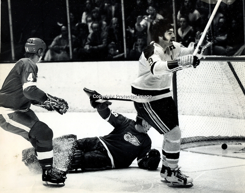 Seals Ivan Boldirev scores,Redwings goalie Denis Dejordy, #4 Thommie Bergman, (1973 photo by Ron Riesterer)