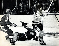 Seals Ivan Boldirev scores,Redwings goalie Denis Dejordy, #4 Thommie Bergman, (1973 photo by Ron Riesterer)