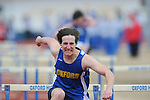 Oxford High's Jonathan Redding runs hurdles during a track meet at Oxford High School in Oxford, Miss. on Saturday, March 13, 2010.