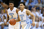 01 December 2015: North Carolina's Marcus Paige (5) and Kennedy Meeks (3). The University of North Carolina Tar Heels hosted the University of Maryland Terrapins at the Dean E. Smith Center in Chapel Hill, North Carolina in a 2015-16 NCAA Division I Men's Basketball game. UNC won the game 89-81.