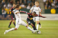 CARSON, CA – May 7, 2011: New York Red Bull midfielder Dane Richards (19) and LA Galaxy defender Todd Dunivant (2) battle for the ball during the match between LA Galaxy and New York Red Bull at the Home Depot Center, May 7, 2011 in Carson, California. Final score LA Galaxy 1, New York Red Bull 1.