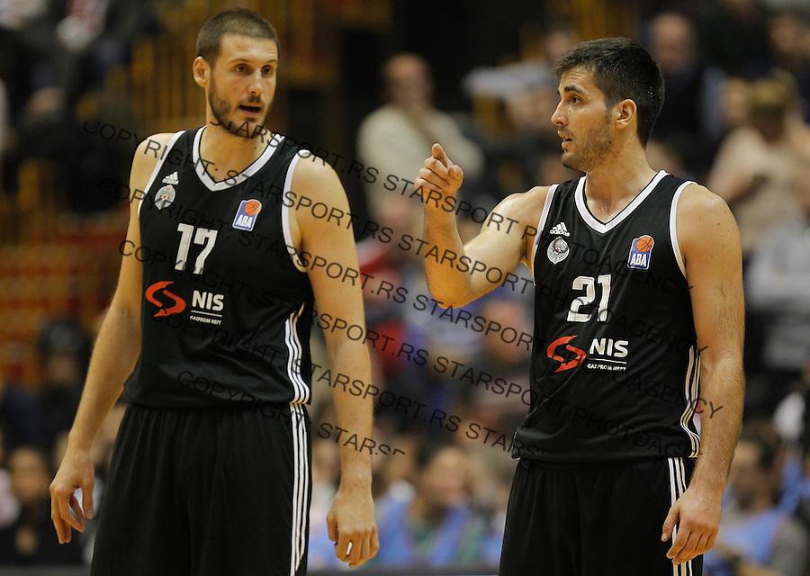 Kosarka ABA League season 2015-2016<br /> Crvena Zvezda v Partizan<br /> Kosta Perovic and Mihajilo Andric (R)<br /> Beograd, 03.11.2015.<br /> foto: Srdjan Stevanovic/Starsportphoto&copy;