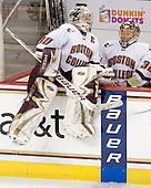 Molly Schaus (BC - 30), Kiera Kingston (BC - 32) - The Boston College Eagles and the visiting University of New Hampshire Wildcats played to a scoreless tie in BC's senior game on Saturday, February 19, 2011, at Conte Forum in Chestnut Hill, Massachusetts.