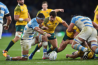 Pablo Matera of Argentina competes with Nick Phipps of Australia for the ball. Rugby World Cup Semi Final between Argentina v Australia on October 25, 2015 at Twickenham Stadium in London, England. Photo by: Patrick Khachfe / Onside Images