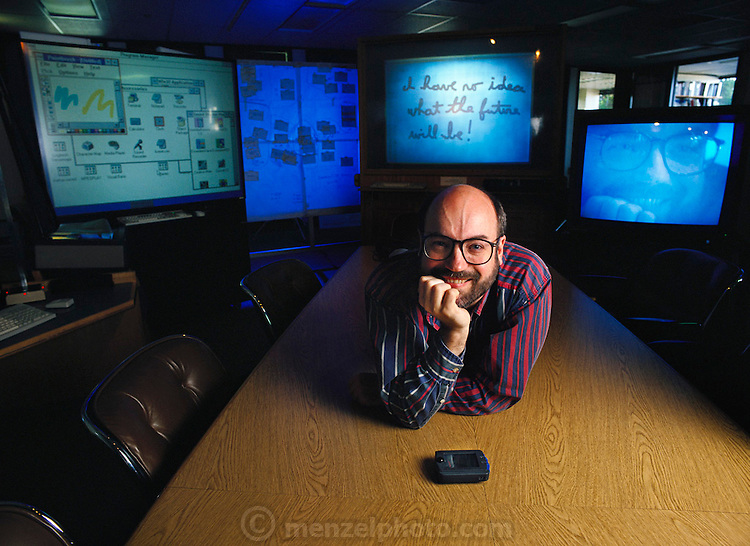 """Mark Weiser (b. 1952), director of research at Xerox PARC (Palo Alto Research Center), California. One of Silicon Valley's most visionary computer companies, Xerox PARC is the birthplace of the computer workstation, the mouse and the """"graphical user interface"""" - the now universal system of interacting with computers through windows and icons. Mark Weiser worked on ubiquitous computing (?The most profound technologies are those that disappear. They weave themselves into the fabric of everyday life until they are indistinguishable from it.?) After-hours he was the drummer for a rock band called Severe Tire Damage..He died of cancer in (1997)"""