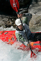 SCOPES Paul (Great Britain). Kayak downhill race in the Brandseth river. The Extremesport Week, Ekstremsportveko, is the worlds largest gathering of adrenalin junkies. In the small town of Voss enthusiasts in a varitety of extreme sports come togheter every summer to compete and play. Norway.  ©Fredrik Naumann/Felix Features.