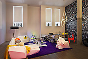 Relative Space flooring, Creation Bauman Eluis throw, Ramon Esteve (Vondom) Faz Sofa, chaise lounge, armchair, Estiluz Testa Floor Lamp, William Lee 'Slice',  Lladró Guest Collection designed by Jamie Hayon, Tim Biskup, & Devilrobots, Andrew Yes Galactic pillow balls, Piero Lissoni (Cassina) Mex Table, Ovando: Floral Design and Event Production candle, Dinosaur Designs tableware, Paula Hays Crystal Terrariums, Stark Carpet rug, Tom Fruin Neon Fire Place, Thomas Heatherwick (Haunch of Venison) bench 'Billet 3, Extrusion 4', Jamie Hayon (Lladró) Conversation Vase I & II, Antonio Pio Saracino (Bosi Contemporary) Ray Sofa, Aranda/Lasch (Johnson Trading Gallery) Modern Primitives, Andrew Yes Fossil Table, Eduardo Garza 24K gold-plated Sabor-Toothed Tiger Skull, Dinosaur Design tableware, LMNOQ 'SHKR SHKR' by Laz Ojalde, Bec Brittain SHY01, Stefan Hengst NY Trash Series No. 1, TJ O'Keefe Chair IV, Max Lamb (Johnson Trading Gallery) black rubber Poly sofa