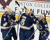 - The Boston College Eagles defeated the visiting University of Notre Dame Fighting Irish 4-2 to tie their Hockey East quarterfinal matchup at one game each on Saturday, March 15, 2014, at Kelley Rink in Conte Forum in Chestnut Hill, Massachusetts.