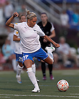 Boston Breakers forward Kyah Simon (17) takes a shot. In a Women's Premier Soccer League Elite (WPSL) match, the Boston Breakers defeated New England Mutiny, 4-2, at Dilboy Stadium on June 20, 2012.