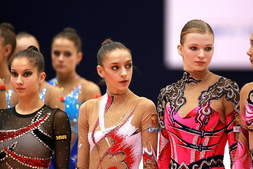 (L-R) Simona Peycheva of Bulgaria, Evgenia Kanaeva and Olga Kapranova of Russia lineup during closing ceremony at 2006 Mie World Cup Finale of rhythmic gymnastics on November18, 2006.<br />