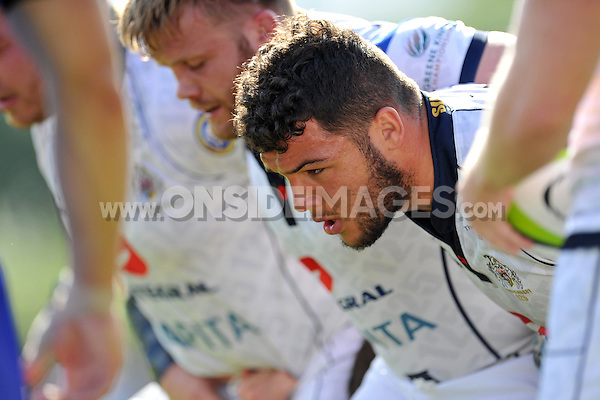 Ellis Genge looks on as the Bristol forwards pack down for a scrum. Pre-season friendly match, between Bristol Rugby and Newport Gwent Dragons on August 17, 2014 at the Cribbs Causeway Ground in Bristol, England. Photo by: Patrick Khachfe / JMP