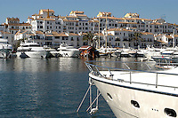 Marina, Puerto Banus, Marbella, Malaga Province, Spain. Luxury motor yachts. Luxury apartments, 200211011144...Copyright Image from Victor Patterson, 54 Dorchester Park, Belfast, UK, BT9 6RJ..Tel: +44 28 9066 1296.Mob: +44 7802 353836.Voicemail +44 20 8816 7153.Skype: victorpattersonbelfast.Email: victorpatterson@mac.com.Email: victorpatterson@ireland.com (back-up)..IMPORTANT: If you wish to use this image or any other of my images please go to www.victorpatterson.com and click on the Terms & Conditions. Then contact me by email or phone with the reference number(s) of the image(s) concerned.