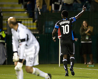 Simon Dawkins of Earthquakes celebrates after scoring a goal during the game against Seattle Sounders at Buck Shaw Stadium in Santa Clara, California on April 2nd, 2011.   San Jose Earthquakes and Seattle Sounders are tied 2-2.
