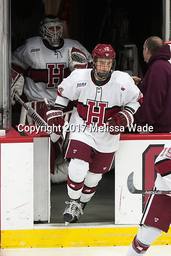 Michael Floodstrand (Harvard - 44) - The Harvard University Crimson defeated the St. Lawrence University Saints 6-3 (EN) to clinch the ECAC playoffs first seed and a share in the regular season championship on senior night, Saturday, February 25, 2017, at Bright-Landry Hockey Center in Boston, Massachusetts.