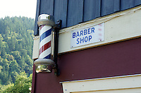 Old fashioned barber shop in Snug Cove, Bowen Island, British Columbia, Canada