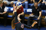 11 September 2015: Stanford's Jordan Burgess. The Duke University Devils hosted the Stanford University Cardinal at Cameron Indoor Stadium in Durham, NC in a 2015 NCAA Division I Women's Volleyball contest. Stanford won the match 3-2 (17-25, 25-22, 17-25, 25-23, 10-15).