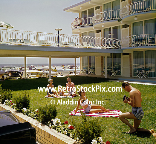 People relaxing on the lawn of the Imperial 500 Motel in Wildwood, NJ in the 1960's.
