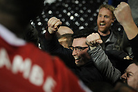 Blackburn Rovers fans celebrate their late equaliser by Lucas Joao<br /> <br /> Photographer /Ashley WesternCameraSport<br /> <br /> The EFL Sky Bet Championship - Fulham v Blackburn Rovers - Tuesday 14th March 2017 - Craven Cottage - London<br /> <br /> World Copyright &copy; 2017 CameraSport. All rights reserved. 43 Linden Ave. Countesthorpe. Leicester. England. LE8 5PG - Tel: +44 (0) 116 277 4147 - admin@camerasport.com - www.camerasport.com