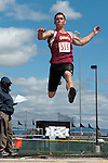 Ontario junior Joe Delgado long jumps during the YMCA Track and Field Invite on April 28, 2012 at Rocky Mountain High School, Meridian, Idaho. Delgado placed first with a jump of 21-09.25.