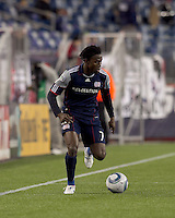 New England Revolution forward Kenny Mansally (7) dribbles. In a Major League Soccer (MLS) match, Real Salt Lake defeated the New England Revolution, 2-0, at Gillette Stadium on April 9, 2011.