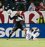 Chivas goalie Zach Thornton (22) looks to pass the ball during the second half of the game between Chivas USA and the New England Revolution at the Home Depot Center in Carson, CA, on September 10, 2010. Chivas USA 2, New England Revolution 0.