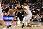 24 February 2016: Notre Dame's Steve Vasturia (32) and Wake Forest's Mitchell Wilbekin (10). The Wake Forest University Demon Deacons hosted the University of Notre Dame Fighting Irish at Lawrence Joel Veterans Memorial Coliseum in Winston-Salem, North Carolina in a 2015-16 NCAA Division I Men's Basketball game. Notre Dame won the game 69-58.