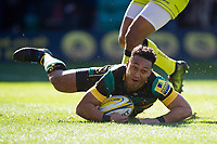 Nafi Tuitavake of Northampton Saints scores the opening try of the match. Aviva Premiership match, between Northampton Saints and Leicester Tigers on March 25, 2017 at Franklin's Gardens in Northampton, England. Photo by: Patrick Khachfe / JMP