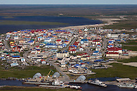 Yarsel, Yamal Peninsula, Russia, 08/07/2010..An aerial view of Yarsel, a new town built by Gazprom as part of the giant Bovanenkovo gasfields project. The town is only accessible by air, or by river in the summer months.