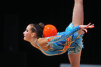 Aliaksandra Narkevich of Belarus performs with ball during Event Finals at World Cup Montreal on January 30, 2011.  Aliaksandra won two of the four Event Finals. (Photo by Tom Theobald).