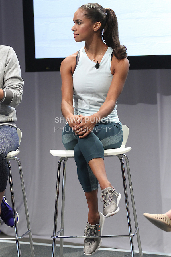 """Ballerina Misty Copeland, onstage at the Under Armour, """"I will what I want"""" global women's campaign launch, on July 31, 2014, in New York City."""