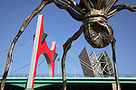 Puente de la Salve Bridge by Buren and Spider Sculpture by Bourgeois; Bilbao; Basque Country; Spain