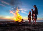 Californians burn their holiday tree on a beach along the Big Sur coastline of California.