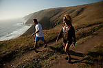 Dave Freudenberger, left, and Debbie Martin, both of Roseville, hike the Tomales Bay Point Trail near Pt. Reyes, Calif., July 2, 2011.