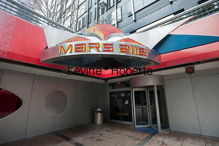 The closed Mars 2112 theme restaurant on Broadway in New York is seen on Sunday, January 22, 2012. The iconic eatery, beloved of tourists and children, closed 100 years ahead of schedule.  (© Richard B. Levine)