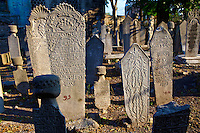 Islamic tomb stones in a Fatih cemetery, Istanbul Turkey