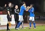 St Johnstone v Aberdeen.....07.12.13    SPFL<br /> Rory Fallon comes on in place of Nigel Hasselabink but only stays on the pitch a minute before being sent off<br /> Picture by Graeme Hart.<br /> Copyright Perthshire Picture Agency<br /> Tel: 01738 623350  Mobile: 07990 594431