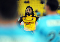 Ma'a Nonu waits for an attacking scrum feed during the Super Rugby match between the Hurricanes and Waratahs at Westpac Stadium, Wellington, New Zealand on Saturday, 18 April 2015. Photo: Dave Lintott / lintottphoto.co.nz