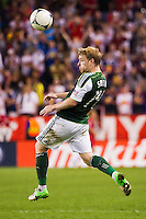 Steven Smith (14) of the Portland Timbers. The New York Red Bulls  defeated the Portland Timbers 3-2 during a Major League Soccer (MLS) match at Red Bull Arena in Harrison, NJ, on August 19, 2012.