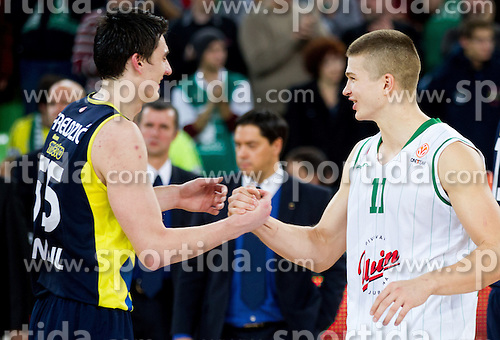 Emir Preldzic of Fenerbahce Ulker and Dino Muric of Union Olimpija  after the basketball match between KK Union Olimpija and Fenerbahce Ulker Istanbul (TUR)  in 2nd Round of Regular season of Euroleague 2012/13 on October 19, 2012 in Arena Stozice, Ljubljana, Slovenia. Fenerbahce Ulker defeated Union Olimpija 81-75. (Photo By Vid Ponikvar / Sportida)